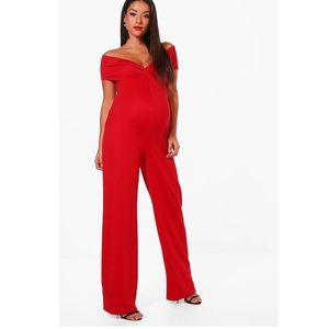 Boohoo maternity red off shoulder jumpsuit